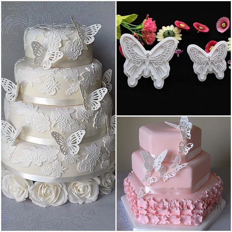 plastic butterfly shape cake fondant mold and cookie plunger cutter tools
