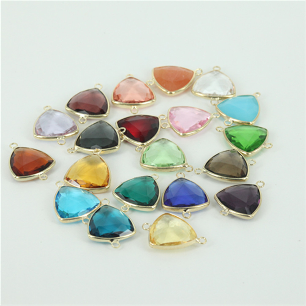 50pcs double buckle crystal birthstone charm triangle for Birthstone beads for jewelry making