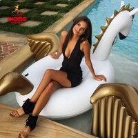 Promo 2 unids/lote 250cm 98 pulgadas unicornio gigante inflable Arco Iris flotadores de agua Pegaso blanco flotador natación colchón de aire cama