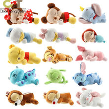 1pcs Mickey Minnie Donald Duck Belle Mermaid Squatting Sleeping plush toys birthday gift 16~17cm WJ01(China)