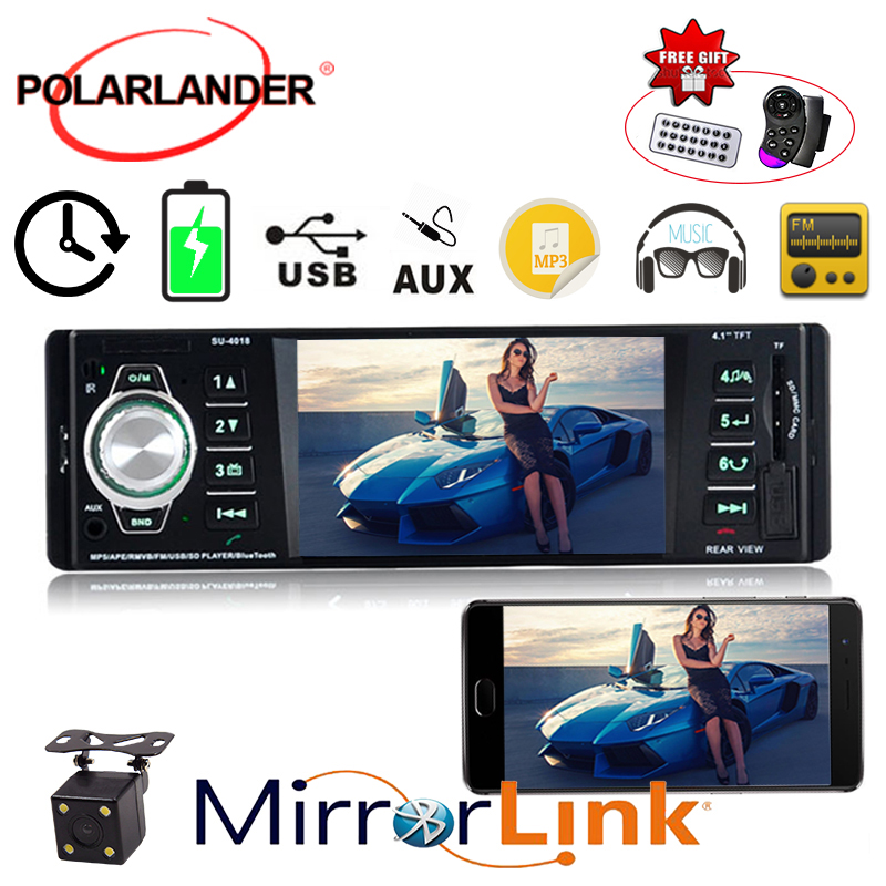 12V AM FM Rear View Camera MP5 USB/SD AUX-IN 1 Din Car Radio Audio Player 4.1 Inch TFT Bluetooth 5Languages 1080P HD Screen image