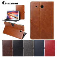 Luxury Pull Up PU Leather Case For Samsung Galaxy Tab E 9 6 T560 T561 Business
