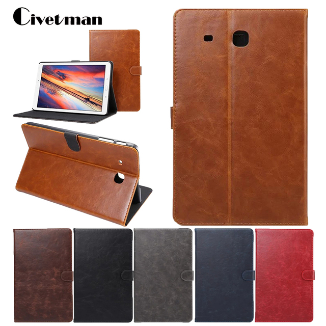 official photos 993e2 1c6a1 US $13.11 |Luxury PU Leather Case for Samsung Galaxy Tab E 9.6 T560 T561  T565 Business Flip Smart Tablet Cover for Galaxy Tab E 9.6 T560-in Tablets  & ...