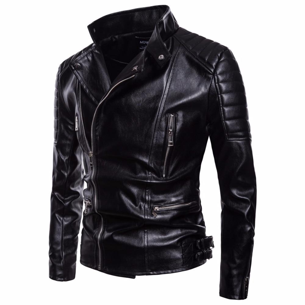 Men/'s Rivet Motorcycle Gangster Black Real Leather Jacket Halloween Special