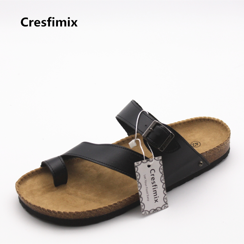 Cresfimix men fashion pu leather beach flip flops man's high quality spring and summer flip flops male casual plus size slippers стоимость