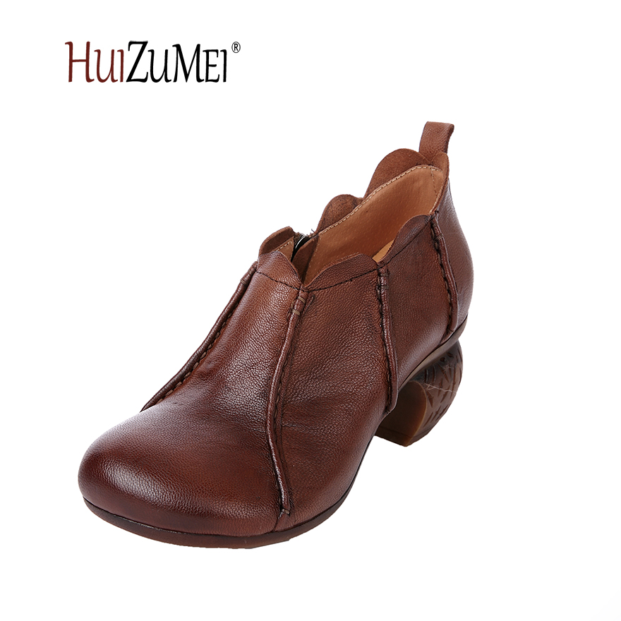 HUIZUMEI new casual original women shoes genuine leather round tor ankle boots for women winter boots huizumei new genuine leather women s