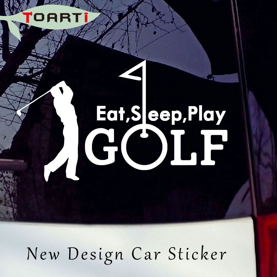 17.8*10.4CM Eat Sleep Golf Summer Golfing Sports Golfer Vinyl Car Sticker Car Styling Creative Removable Waterproof Auto Decals