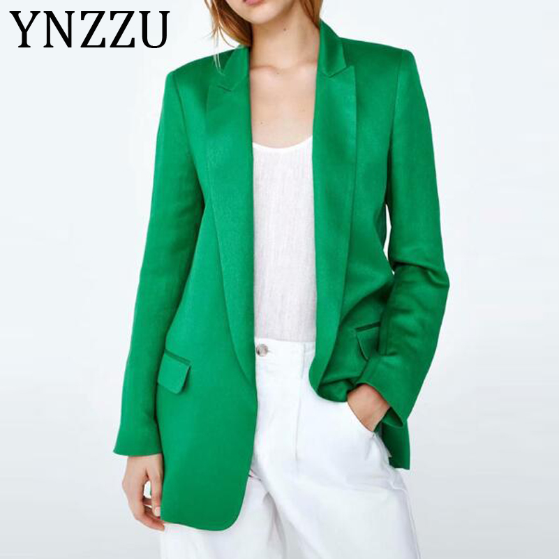 YNZZU 2019 Autumn Green Blazer Women Elegant Notched Collar Long Sleeve OL Suit Blazer Women's Jacket blazer feminino AO992