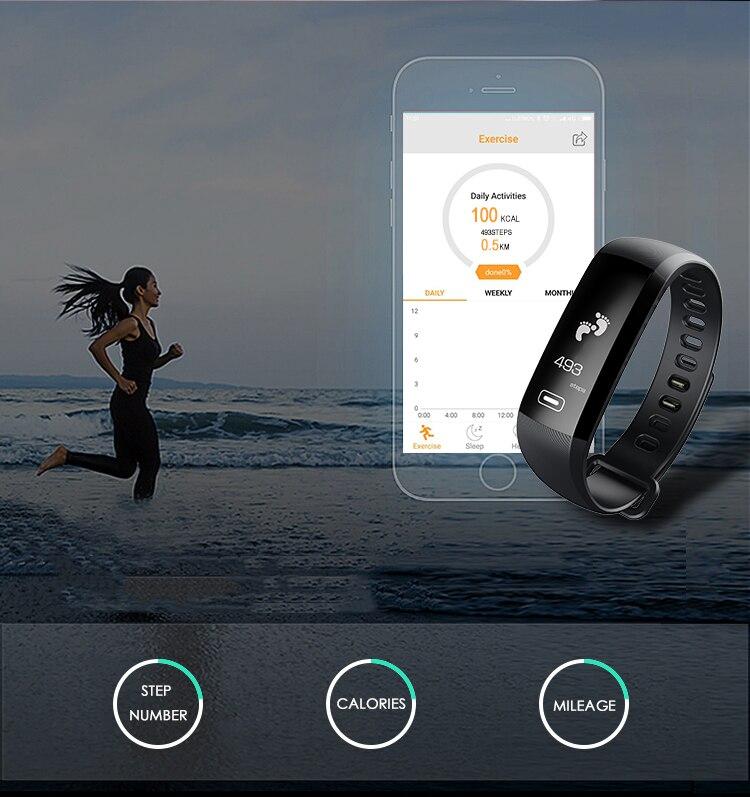 TEZER R5MAX smart Fitness Bracelet Watch intelligent blood pressure heart rate Blood oxygen 50 LETTERS SMS APP Message push 6