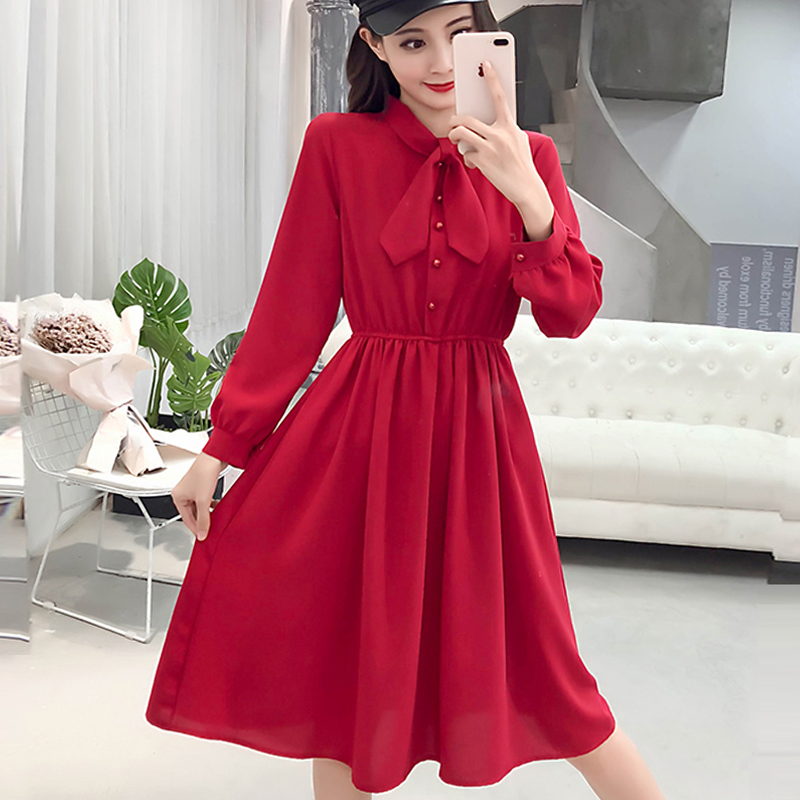 fashion bow collar women dresses party night club dress 2019 new spring long sleeve solid chiffon dress women clothing B101 1