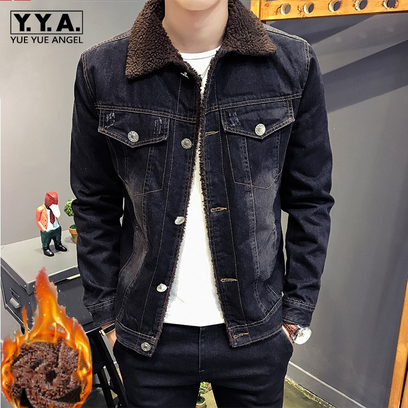 Brand Mens Lamb Fur Collar Warm Thick Denim Jackets Casual High Quality Slim Single Breasted Winter Coats Male Outwear Plus Size