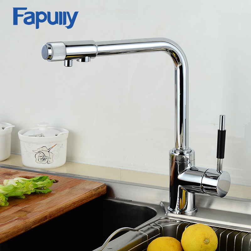 Fapully Kitchen Faucet Deck Mounted Chrome Single Hole Purifier Drinking Water Faucet 3 Way Water Filter