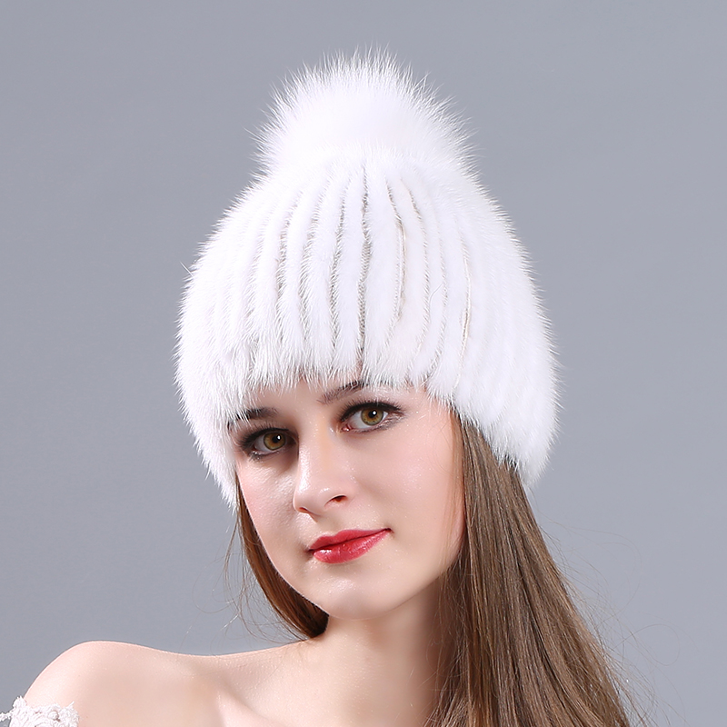 MIARA.L new lady mink hat fashion with fox fur winter warm thickening fur cap manufacturers for retail genuine fur hat