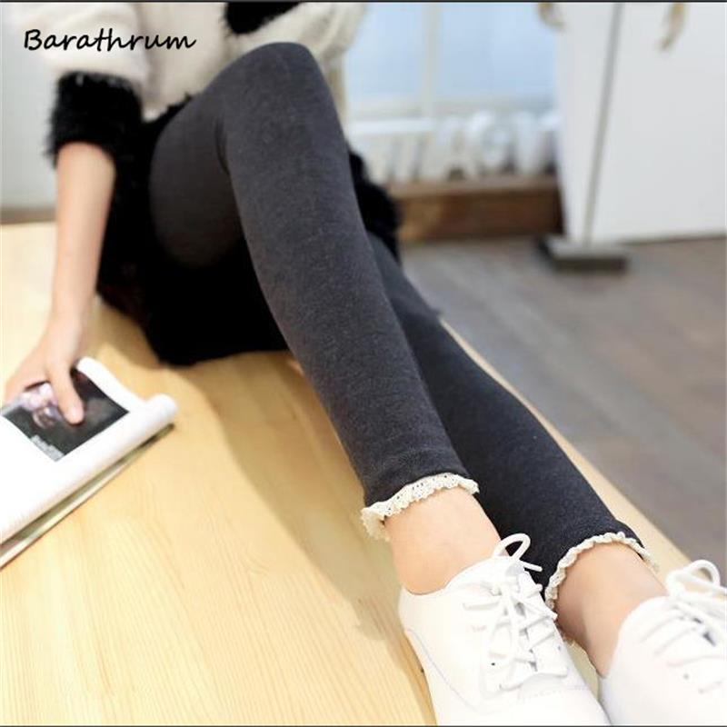 Winter New Fashion Kvinder Leggings Høj elasticitet Bukser i god kvalitet Tykke fløjlsbukser Dejlige kniplinger til kvinder