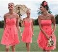 Strapless Coral colored Bridesmaid Dresses 2016 Pleat Cheap Short Wedding Party Dress vestido de festa curto