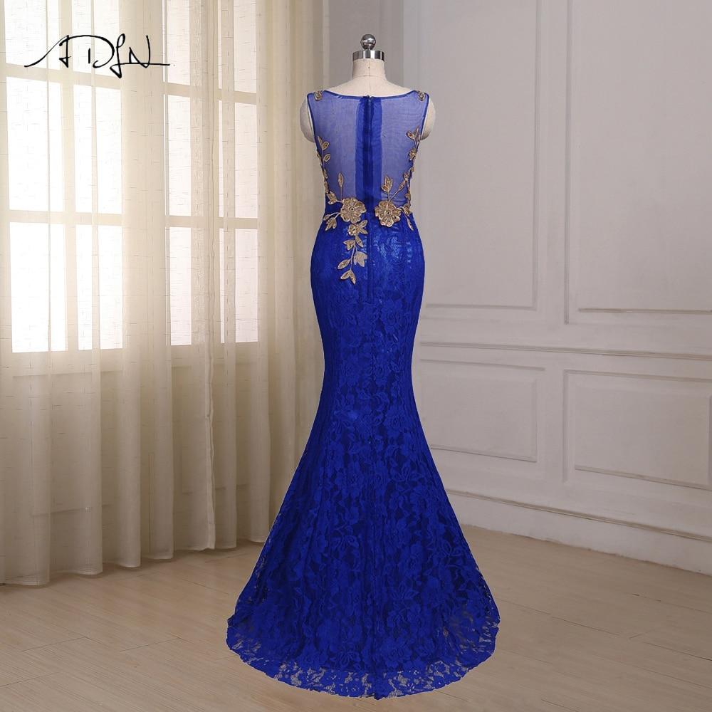 ADLN Royal Blue Mermaid Aftonklänning Cap Sleeve Golvlängd Custom - Särskilda tillfällen klänningar - Foto 2