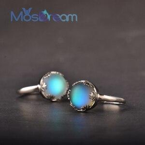 Image 1 - MosDream אור ירח גבירותיי אורורה טבעות s925 כסף כחול אור קריסטל אלגנטי תכשיטי ימי הולדת Romatic מתנה עבור נשים