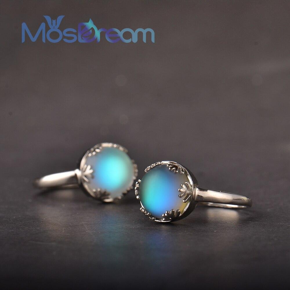 Romático para Mulheres Luz de Cristal Mosdream Moonlight Anéis Aurora Prata Azul Joia Elegante Presente S925
