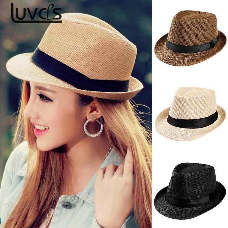 ef946f98eefcbb Fashion Summer Casual Unisex Beach Trilby Large Brim Jazz Sun Hat Panama Hat  Paper Straw Women