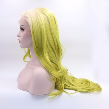 Marquesha Long Wavy Ombre White Roots Ombre Yellow Green Synthetic Lace Front Wig Heat Resistant Ombre Cosplay Wigs фото