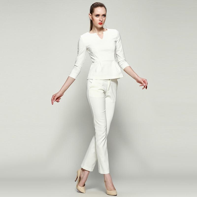 Mujeres trajes de negocios formales de oficina trabajan traje pantalón  formales para mujeres 2015 para mujer blanca de algodón negro 2 unidades  pantalones ... 6b10e56cf11f