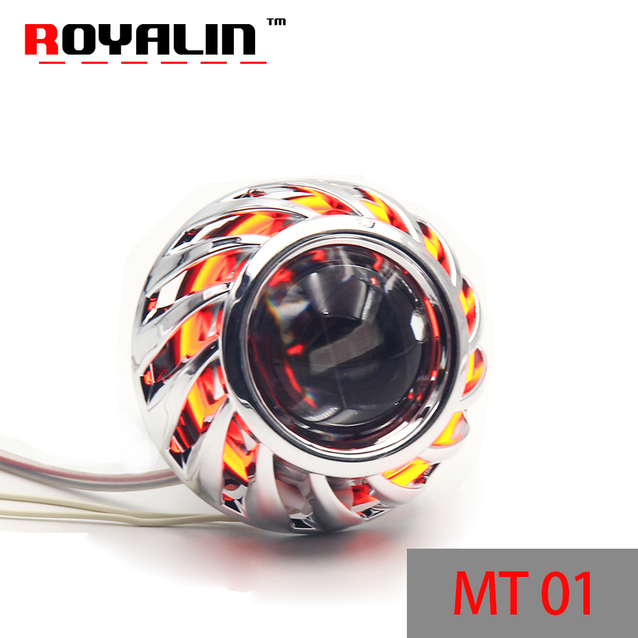 royalin led drl double angel eyes halo rings mini projector lens bi xenon h1 headlight shrouds white red h4 h7 auto lamps diy ROYALIN Motorcycle Bi Xenon Lens H1 Projector Head lights with CCFL Halo Rings Angel Eyes White Red Blue Yellow for H4 H7 Moto