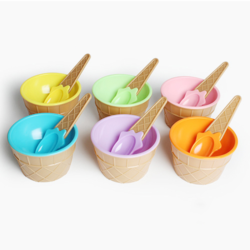 Mignon Crème Glacée Ensemble Doux Couleurs Grande Plastique Bol de Crème Glacée avec Scoop & Piles Croustillant Cône Perspectives Tasse Cuillère pour Enfants