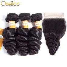 Tissage en lot brésilien Remy avec Closure – Ossilee, cheveux naturels, Loose Wave, lots de 3