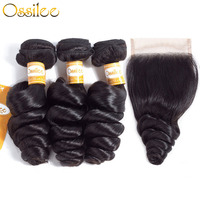 Ossilee Loose Wave Bundles with Closure Brazilian Hair Weave Bundles with Closure Human Hair 3 Bundles with Closure Remy Hair