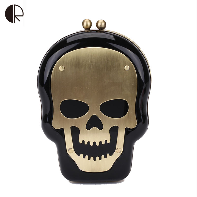 2017 New Messenger Bags Women Mini Skull Head Personalized Crossbody Bag Metal Skull Sign Punk Clutch Halloween Gift Hangbag 841