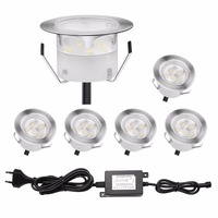QACA Stainess Steel IP67 LED Underground Lighting 1W Low Voltage Outdoor Deck Lights Inground LED Lamps