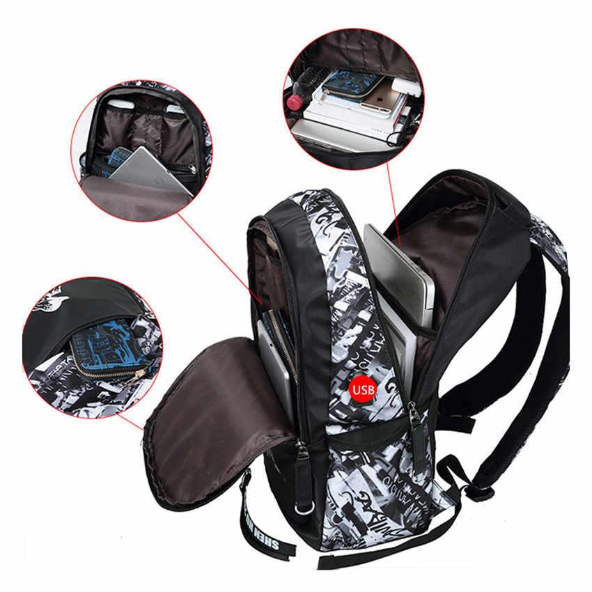 Мужской комп.из рюкзака и нагруд.сумки FengDong, черный водонепроницаемый комплект для мальчиков, состоящий из школьного рюкзака и нагрудной сумки-слинг, осень 2019