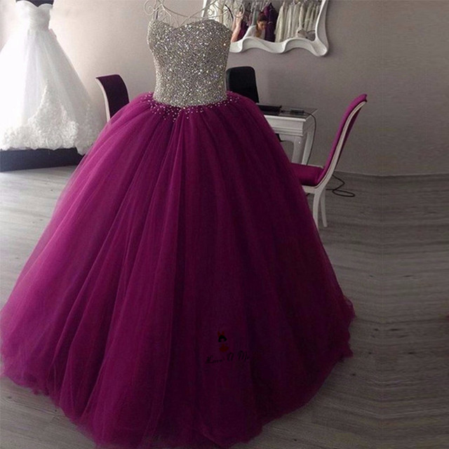 Purple Silver Crystals Plus Size Cheap Quinceanera Gowns 2018 Sweet