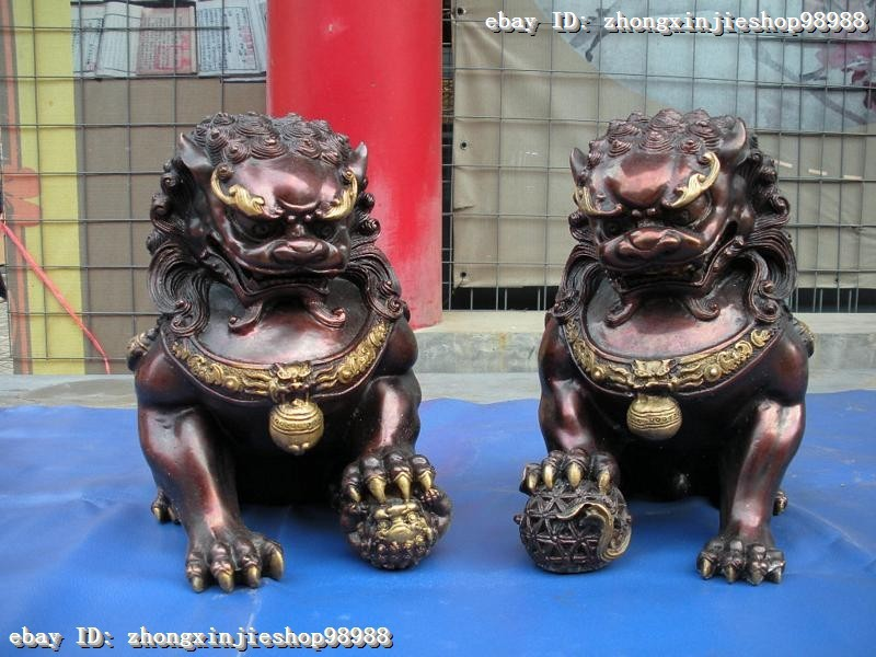 wholesale Retro bronze factory outlets China Red bronze Classic Palace talisman Evil Fu Foo Dog Guardian Lion Pair