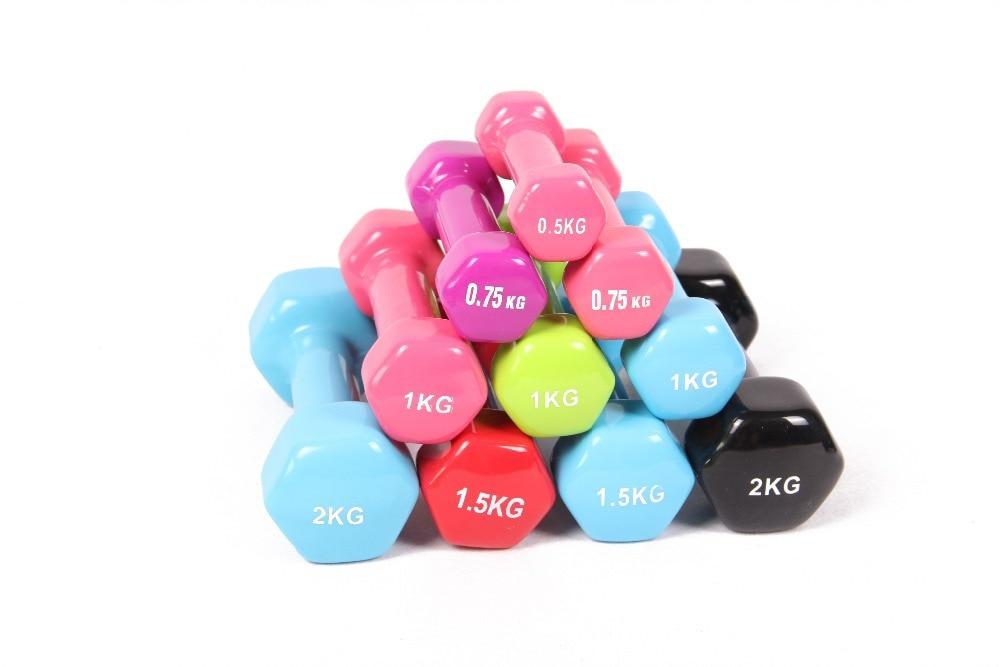 Plastik 0.75 kg * 2 içinde daldırma çok renkli dambıl çocuk ev fitness spor ekipmanları toptan ve ücretsiz kargo için kylin spor