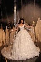 Винтаж Полный кружево с плеча свадебное сексуальное платье Принцесса арабский корсет Часовня Поезд мусульманских для женщин невесты плать