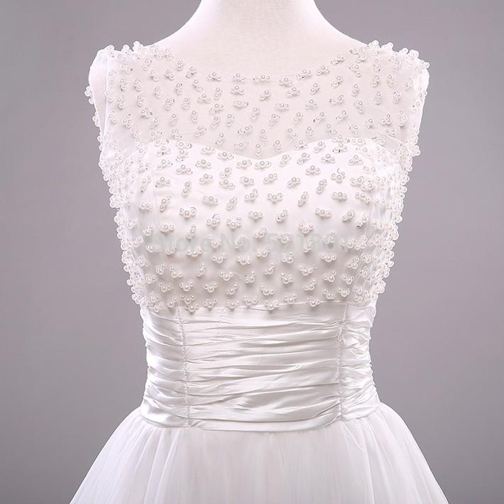 Vintage Lace Beading Short Wedding Dress 2