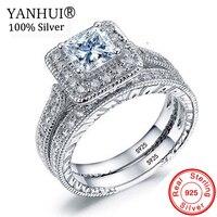YANHUI женские кубик кольца набор люкс 925 серебряные ювелирные изделия Свадебные кольца обручальные кольца обещание на помолвку кольца для же...