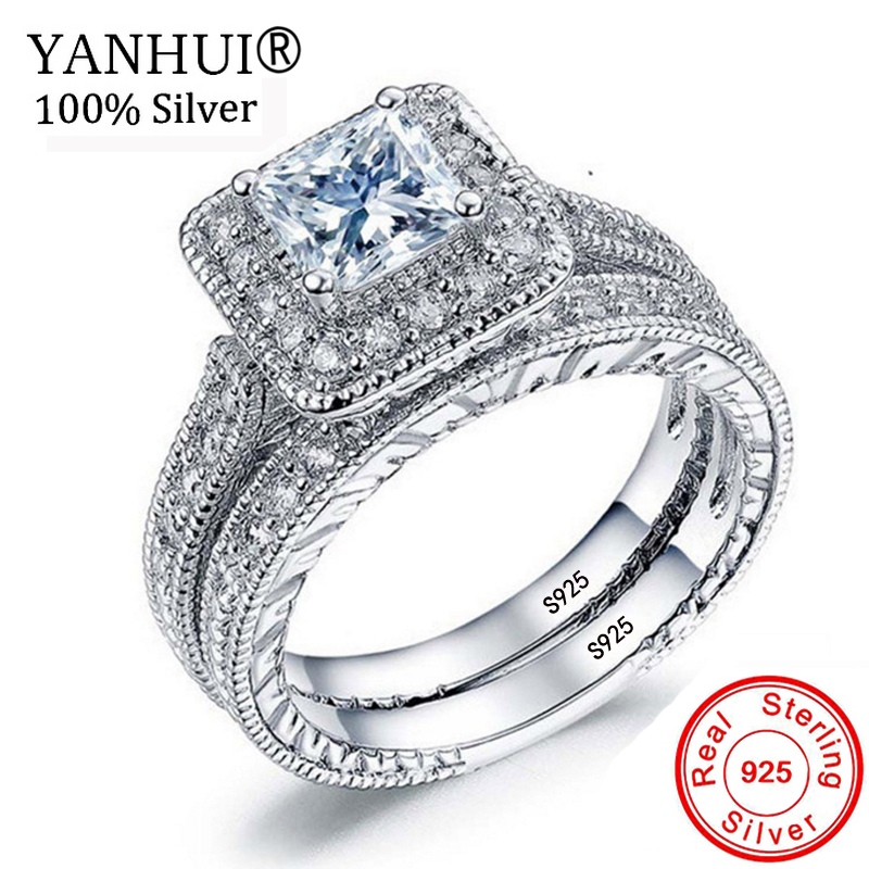 YANHUI Women Cubic CZ Rings Set Luxury 925 Solid Silver Jewelry Wedding Ring Band Promise Engagement Rings For Women ZR293 bravkis wedding bands eternity rings with zirconia for women cz crystal promise engagement finger ring bague jewelry bur0279