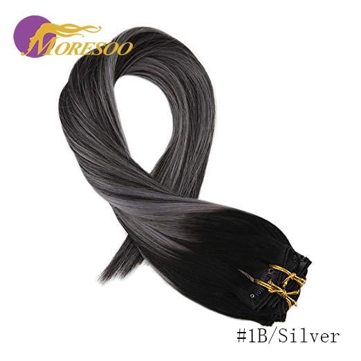 Moresoo накладные волосы Remy на заколках для наращивания, натуральные волосы с эффектом омбре, 7 шт., 100 г, набор на всю голову - Цвет: 1B-Silver-1B