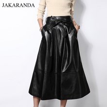 JAS1713 Women 2017 Autumn Luxury Genuine Leather Long Maxi Skirt Female Expansion Bottom Pocket Belt Bow Black Fashion Faldas