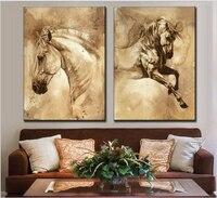 2017 Sprzedaż Bezpośrednia Niska Cena 2 Sztuk Kombinowany Nowoczesne Konia Zwierząt Drukuje Obraz Olejny Na Płótnie Współczesna Art Picture