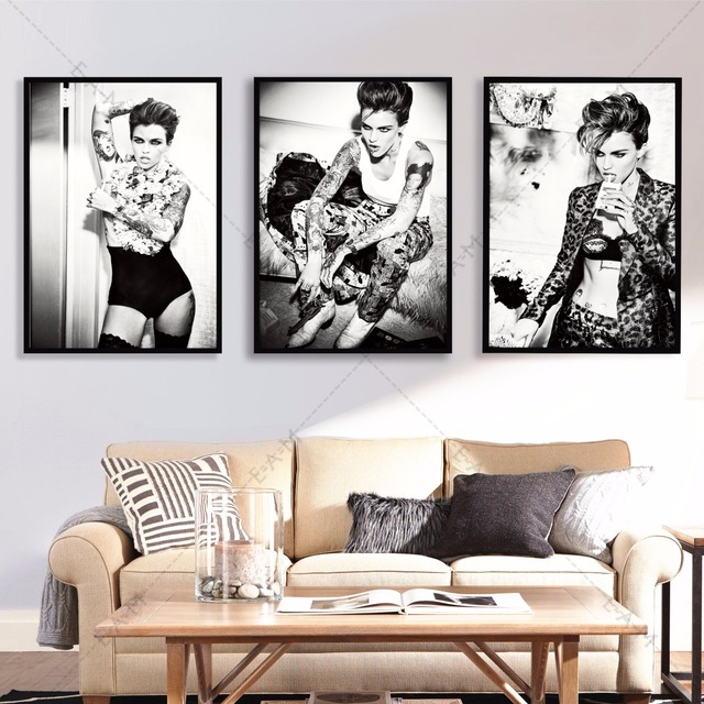 Ruby Rose Black And White Cotton Canvas Art Print Painting