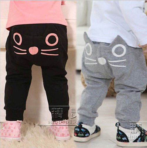 Cute Cat Baby Kids Boys Girls Pants Cotton Warm Clothing Trousers Harem Pants Bottoms Clothes 3-24M