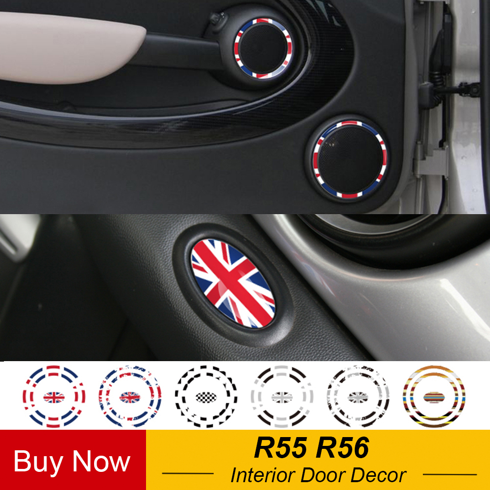 Interior Door Panel Audio Loudspeaker Ring Decoration Stickers Decal For MINI COOPER JCW R55 Clubman R56 Hatchback Car Styling