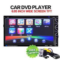 Car Audio приемник 7 двойной 2DIN сенсорный стерео CD DVD плеер Bluetooth USB SD AM FM ТВ радио + камера APR13