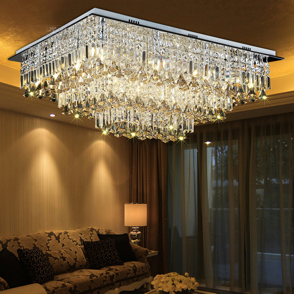 LED Crystal Stainless Steel Rectangle LED Lamp.LED Light.Ceiling Lights.LED Ceiling Light.Ceiling Lamp For Foyer Bedroom Hall