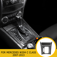 pcmos Carbon Fiber Central Control Panel Decal Stickers For mercedes w204 C class 2007 2013 Car Interior Moulding Accessorie 5pc