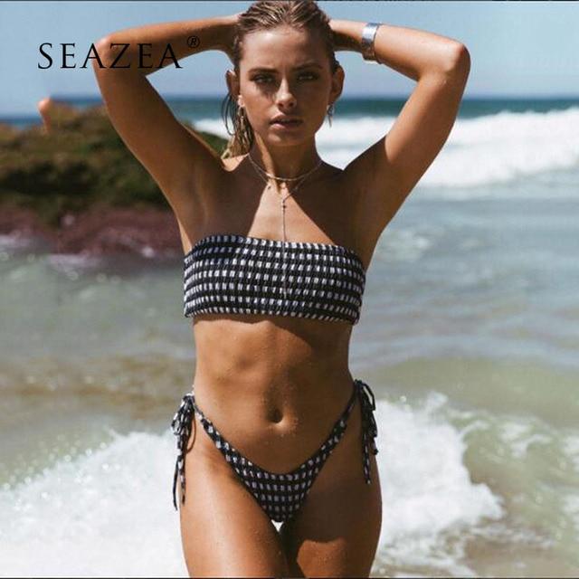 cf806a8ac7 Seazea 2018 Sexy Swimwear Bikini Sets Swimsuit Bandeau Black And White  Bikinis Vantage Bathing Suits Biquini Beach Wear