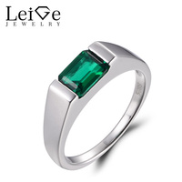 LeiGe Jewelry Emerald Promise Ring Emerald Cut Green Stone Ring May Birthstone 925 Sterling Silver Simple